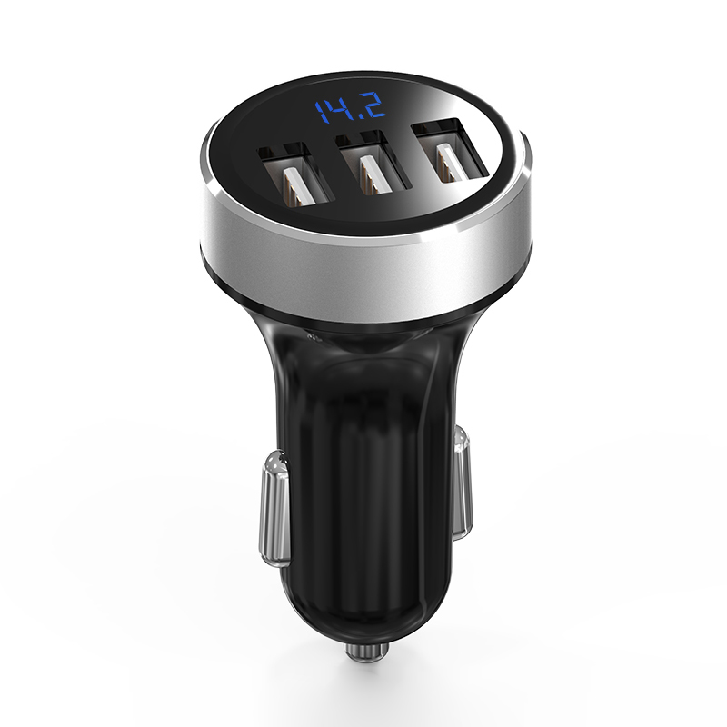 GXYKIT ABS Aluminum 5V 3.1A 3 USB intelligent Car Charger for Samsung