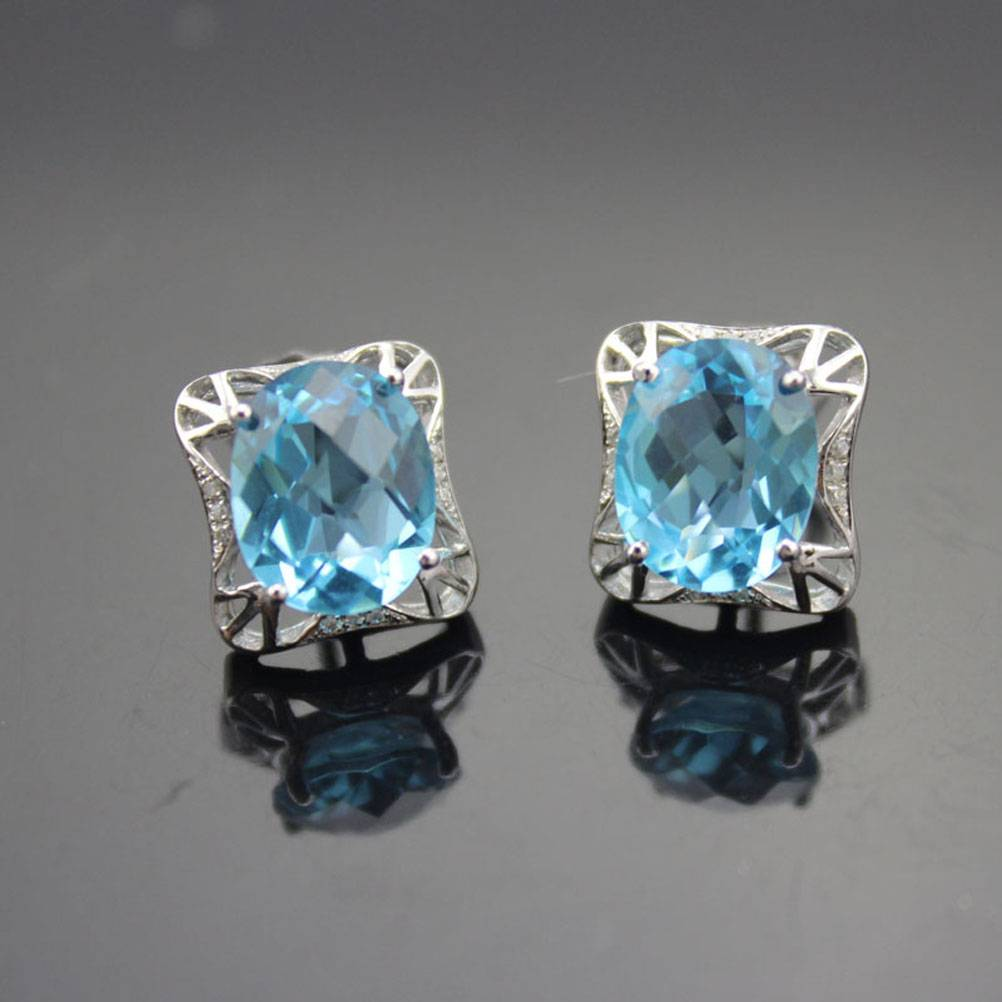Blue Topaz Earrings, 925 Silver Jewelry (E05)