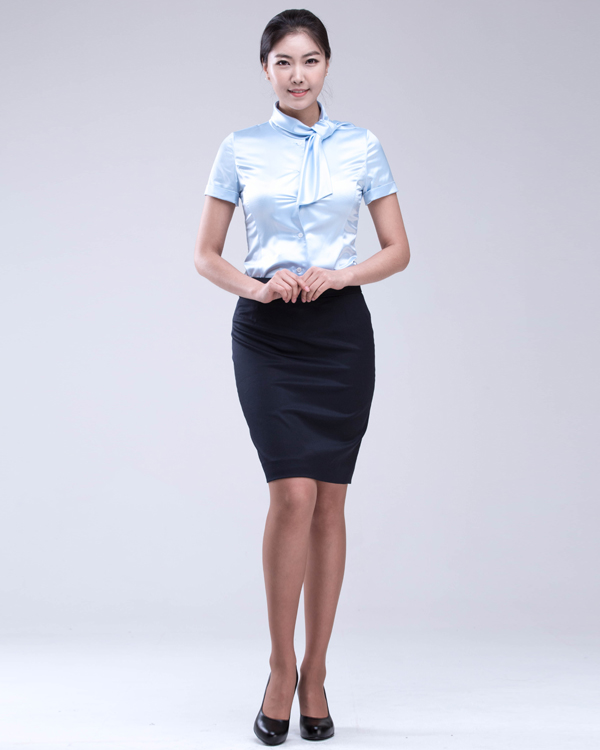 Women Bow Ribbon Satin Formal Short Sleeve Blouses Korean Style