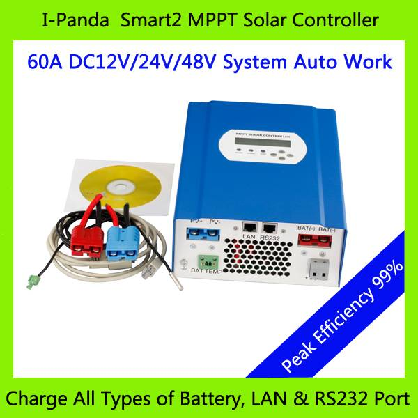 CE RoHS 60A 48V PV regulator, 48V 60A SMART2 MPPT solar charge controller with RS232 Lan Solar stree