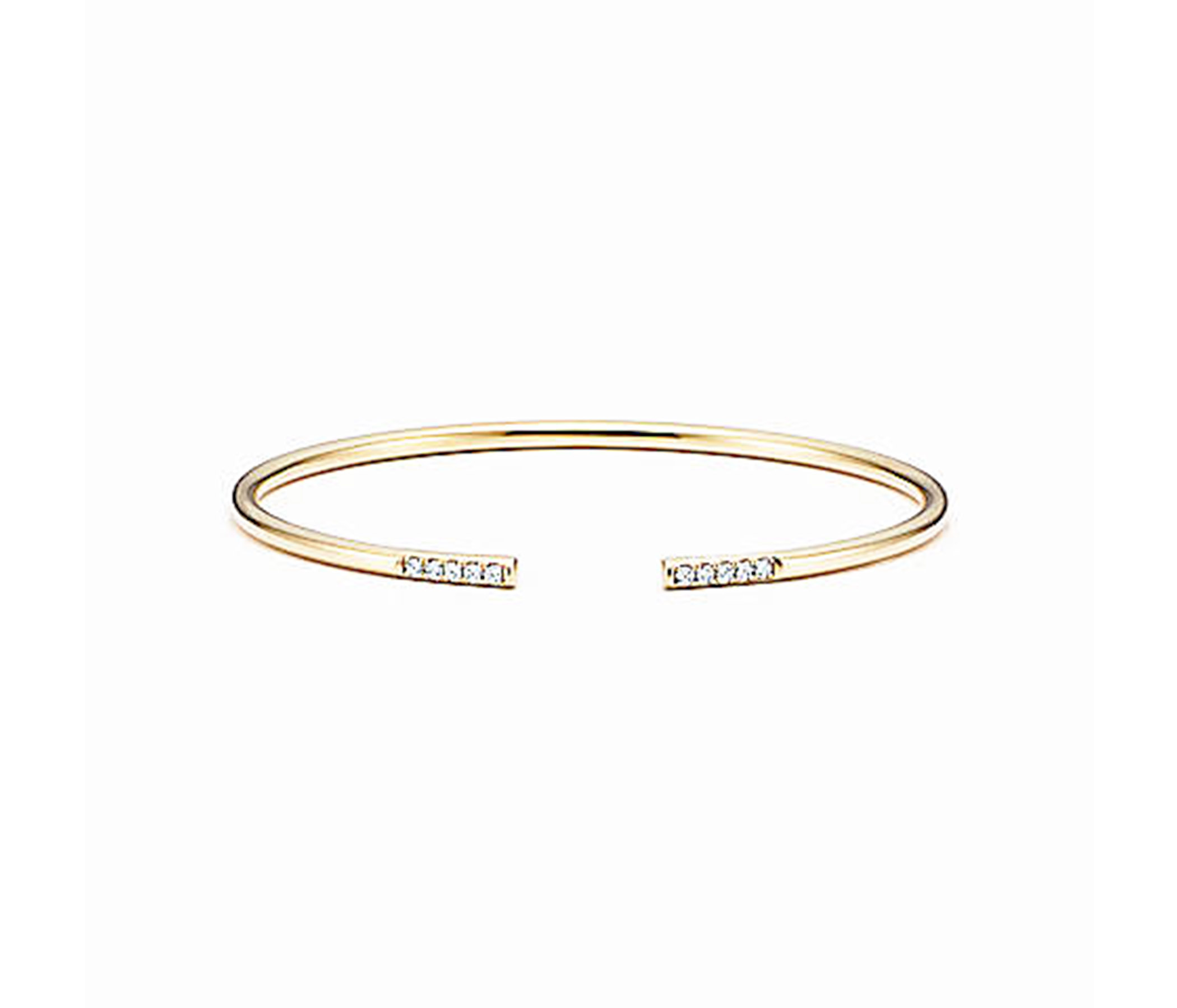 CZ Studded Cuff Bracelet with Gold Plated,