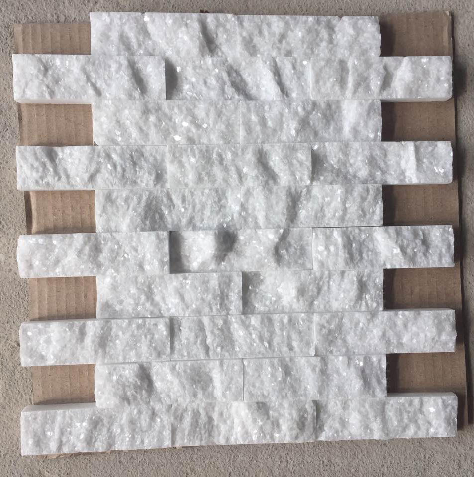 crystal white marble splitface mosaic tile