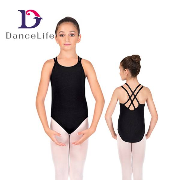 Girl's double camisole leotard with crisscross back, various colors available