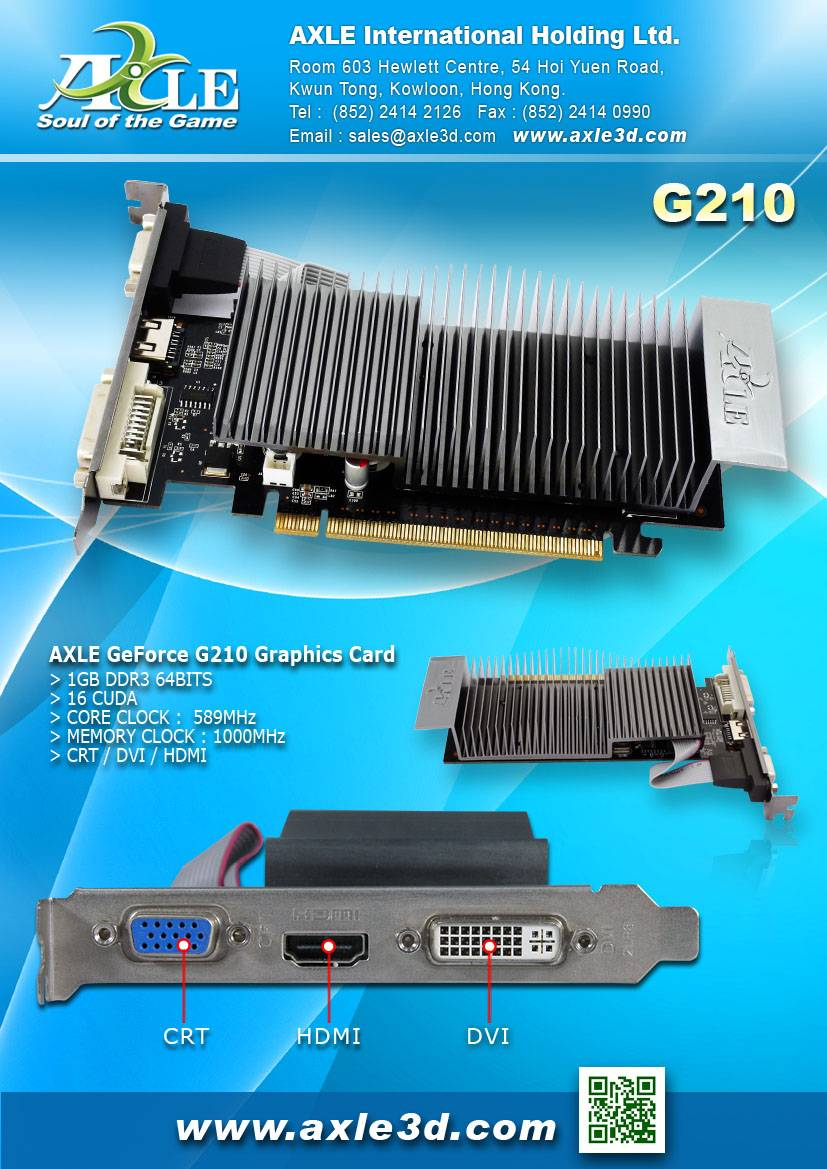 AX-G210/1GSD3P4CDIL(H-S) Graphics card/