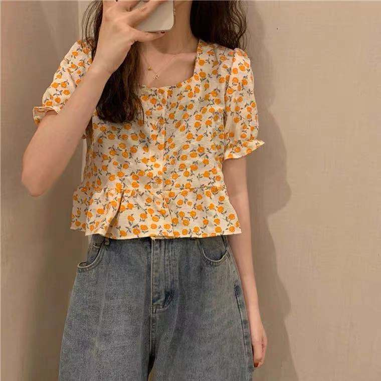 French square collar floral shirt women design sense small top 2021 summer