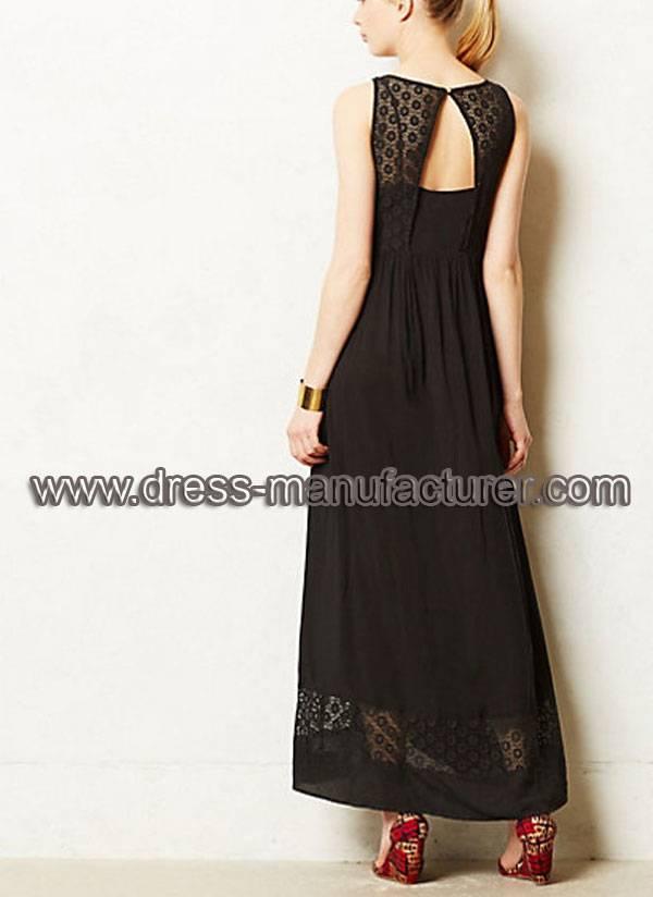 Black Elegant Lace Chiffon Long Dress for Women