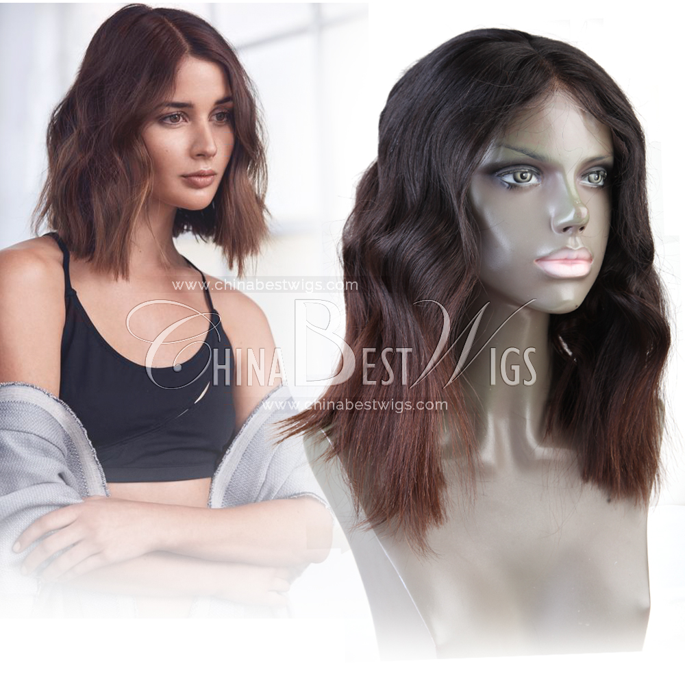 ombre wavy lace front wig human hair