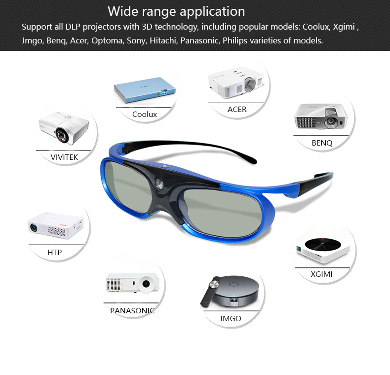 Active Shutter 3D Glasses with Rechargeable match all DLP 3D projector YANTOK