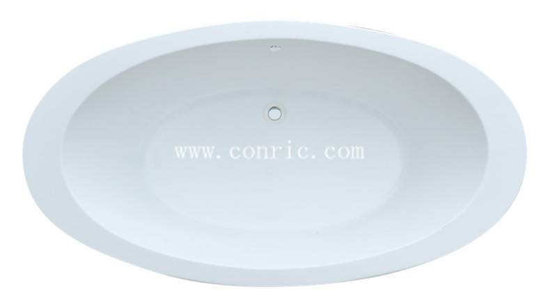 White oval drop-in acrylic bathtub