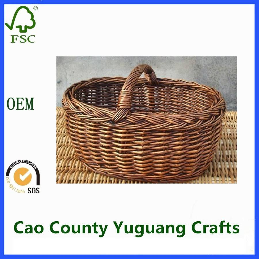 Potato Storage Basket Hanging Storage Baskets Woven Willow Shallow Storage Basket