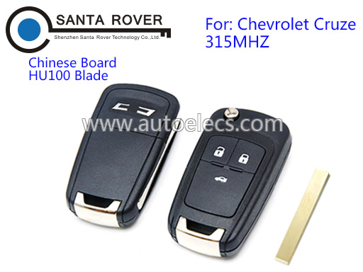 Auto Keys For Chevrolet Cruze Folding Remote Key 3 Button 315Mhz Chinese Board
