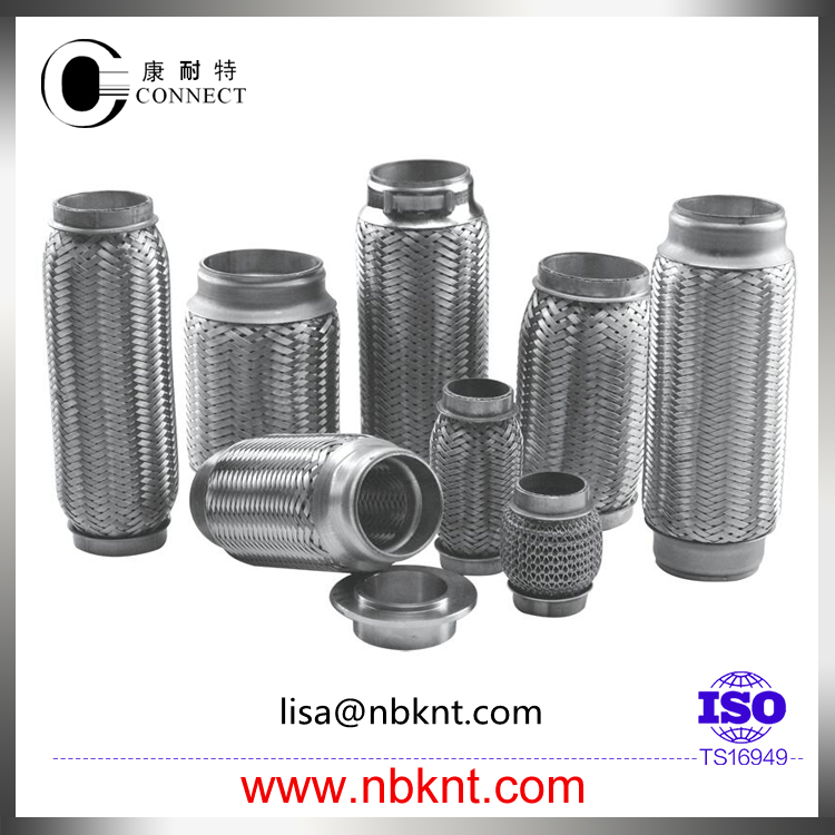 Auto stainless steel exhaust flexible pipe with inner braid
