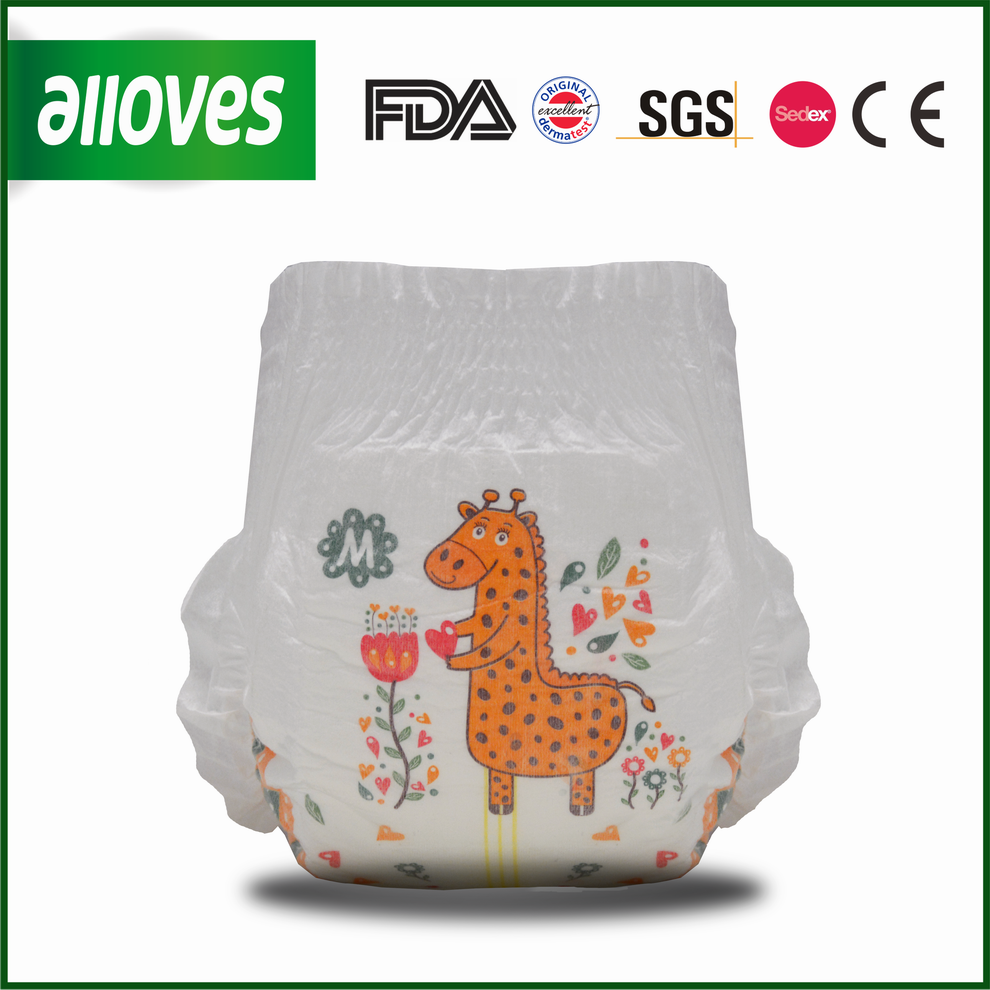 Alloves cute design baby pants giraffe printing best quality diapers pants sleepy disposable pants