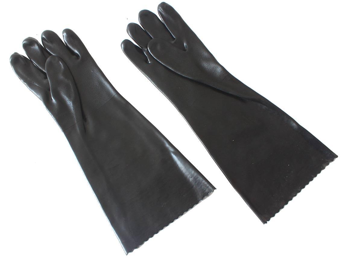 45 cm black sandy finished PVC working safety gloves