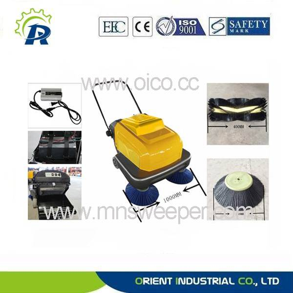 Manual hand-push sweeper