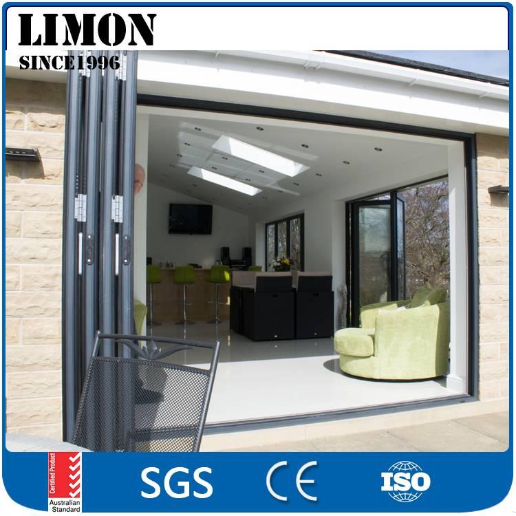 Latest design soundproof aluminium interior galss folding door for bedroom