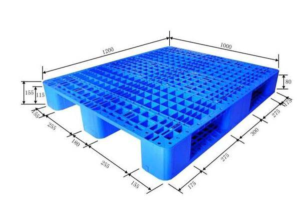 Single sided perforated plastic pallet with 3 skids 1200X1000X155mm