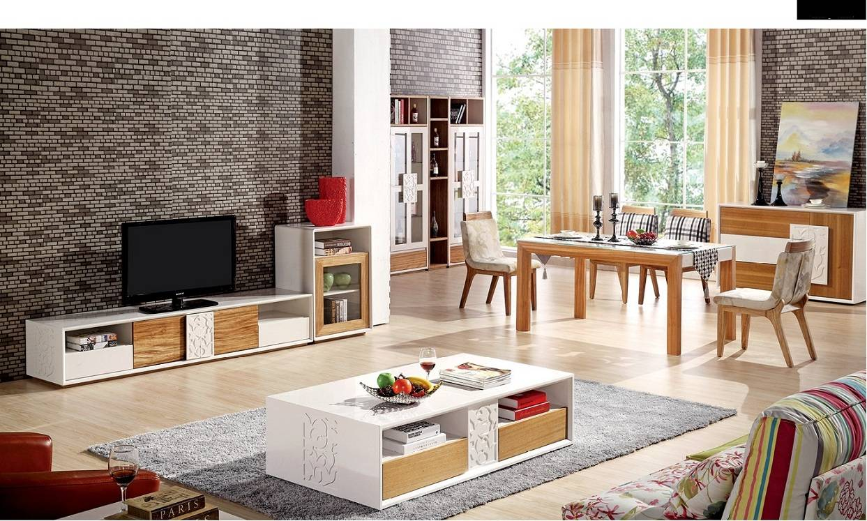 MDF high gloss white living room furniture
