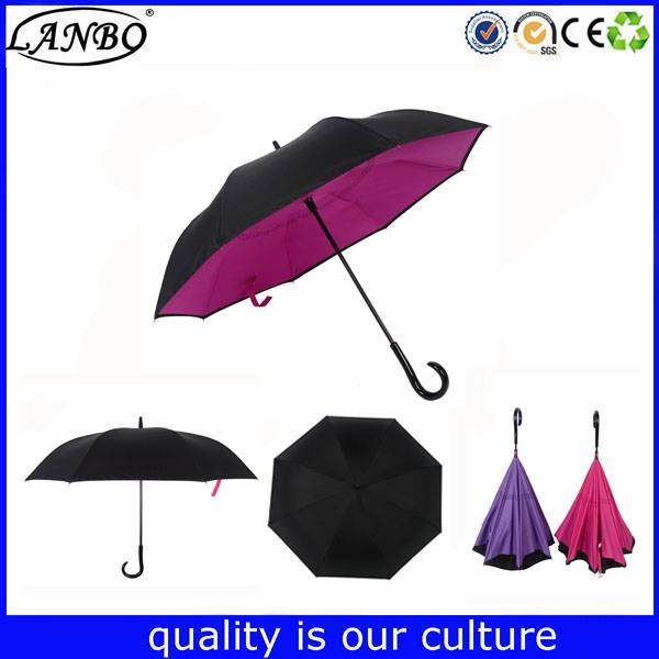 China Windproof Double Layer Car Reverse Open Inverted Umbrella