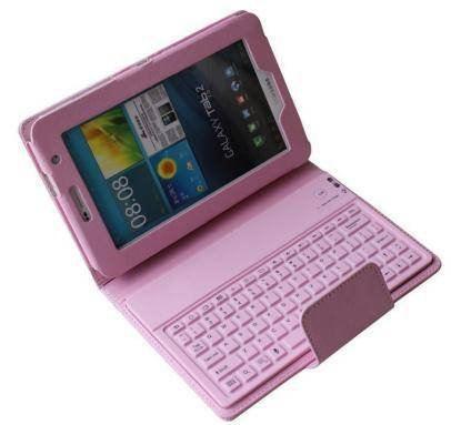 New arrival! pink silicone bluetooth keyboard with leather case for 7 tablet