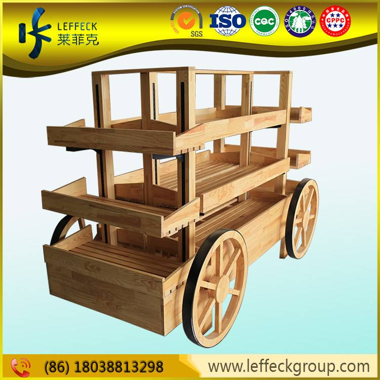 Soild wooden 3 layers bakery shelves with wheel