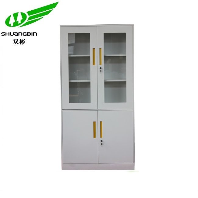 School library glass door adjustable shelf steel storage cabinet