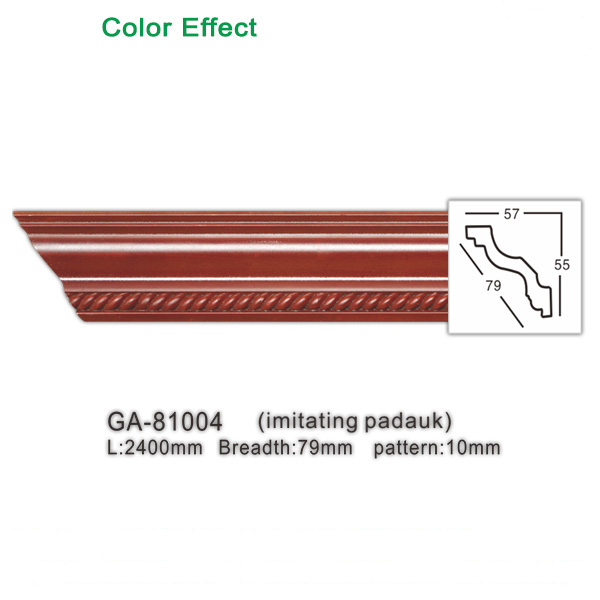 Faux-wooden polyurethane wall ceiling decoration cornice