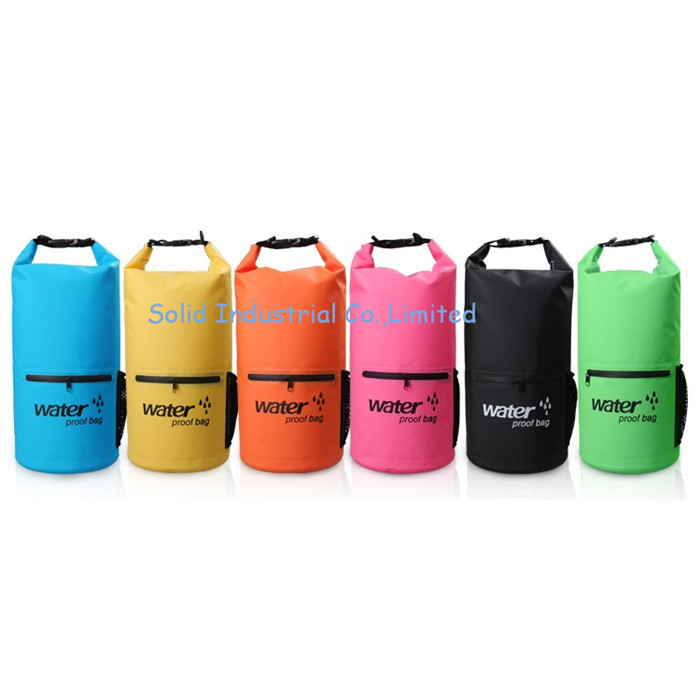 Durable 10L 20L 500D PVC waterproof dry bag backpack with double straps and zipper pocket