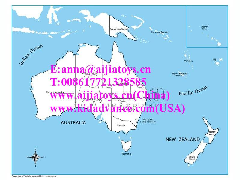 Montessori Labeled Australia Control Map,montessori materials toys