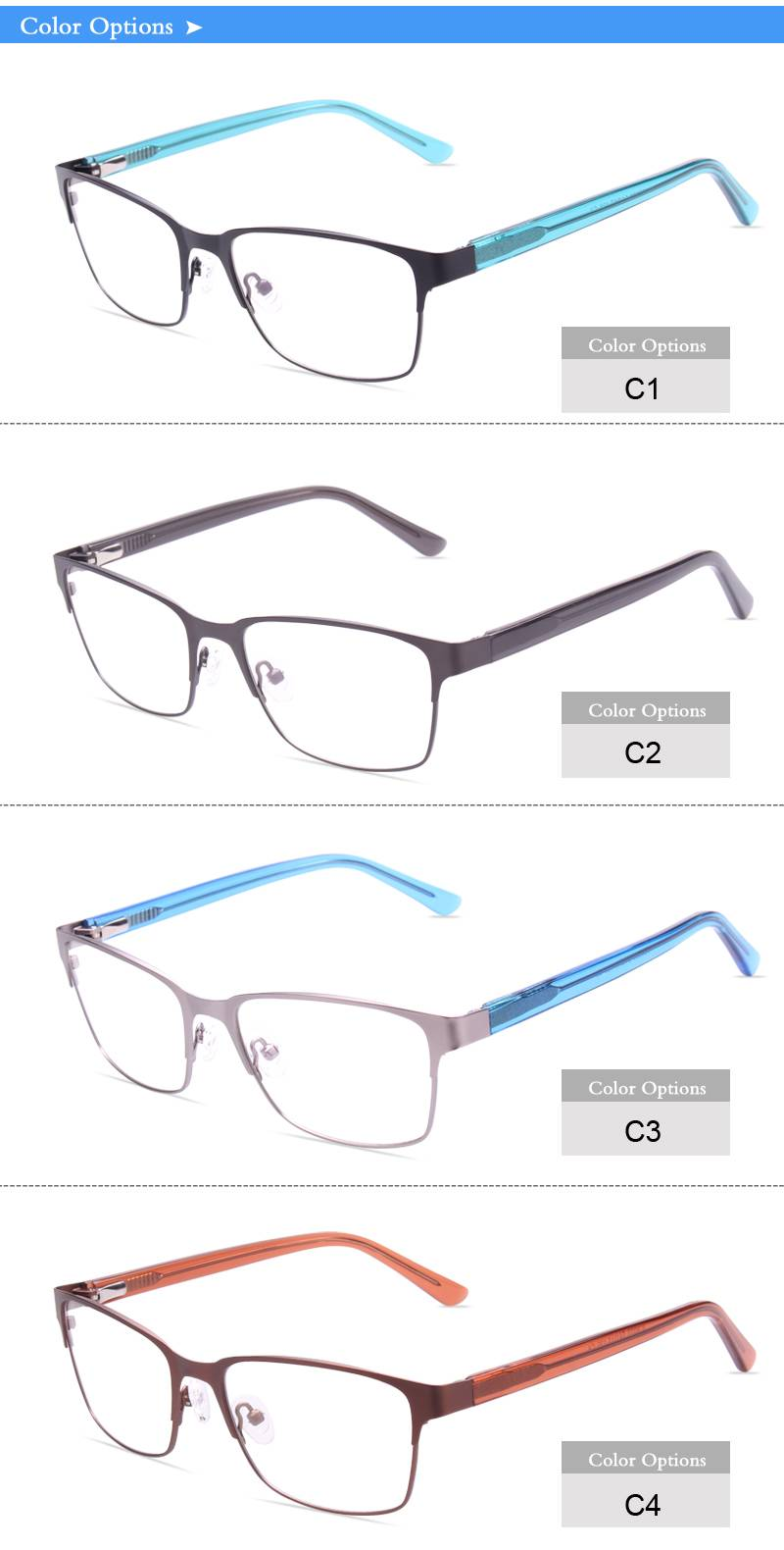 Fashion design flexible stainless steel eyewear