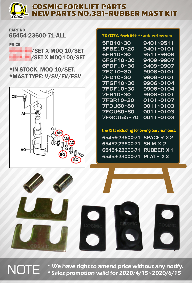Cosmic Forklift Parts New Parts No.381-RUBBER MAST KIT