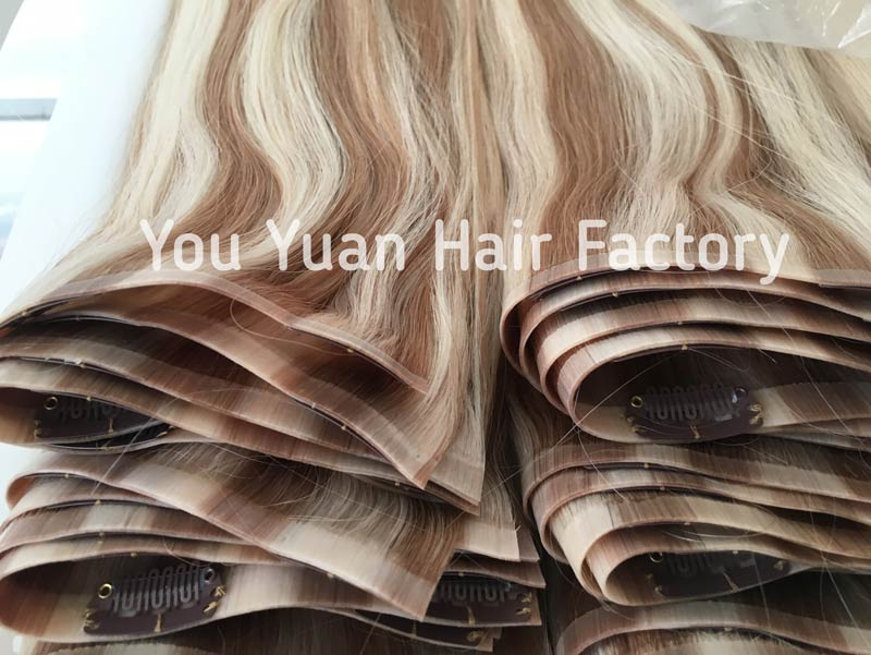 Factory Wholesale Seamless Clip in Hair Extensions Double Drawn Human Remy Hair