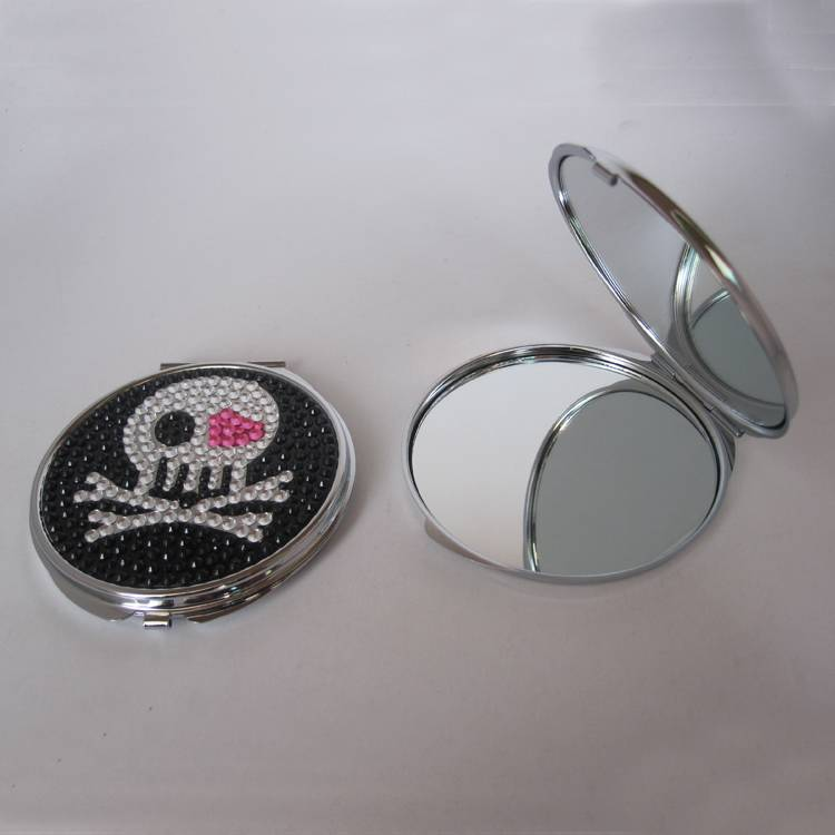 cosmetic compact mirror with diamond on dome for girls