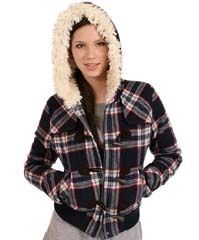 $25 Juicy Couture Plaid Wool Sherpa Hooded Jacket