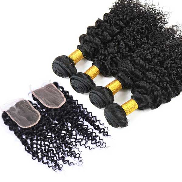8A Brazilian Water Wave Human Virgin Hair Weave 4 Bundles With Lace Closure