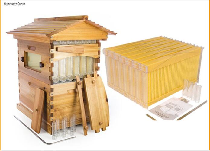 2017 New design auto honey flowing wood bee hive with flow plastic frames