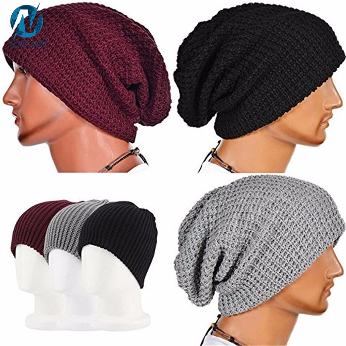 Wholesale plain crochet acrylic beanie slouchy baggy knitted hat touca beanie masculina