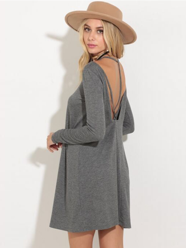 New Fashion Spring Autumn Women Solid O-Neck Long Sleeve Loose Casual Dress WT52056
