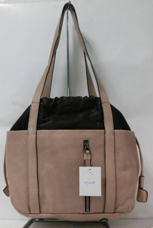 Constrast Color Leather Bucket Bag