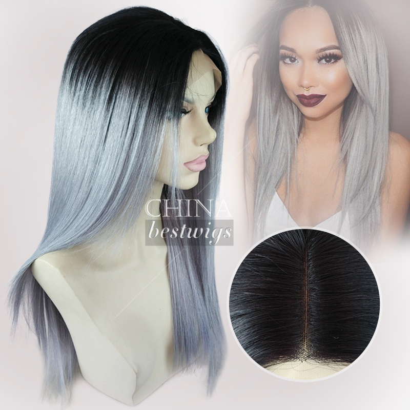 virgin Brazilian hair grey color lace front wig