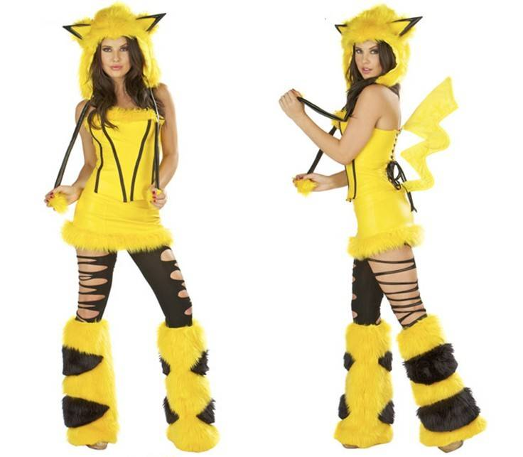 Halloween Cartoon Yellow Pikachu Costumes Sexy Complay Suit Dress Fur Masquerade