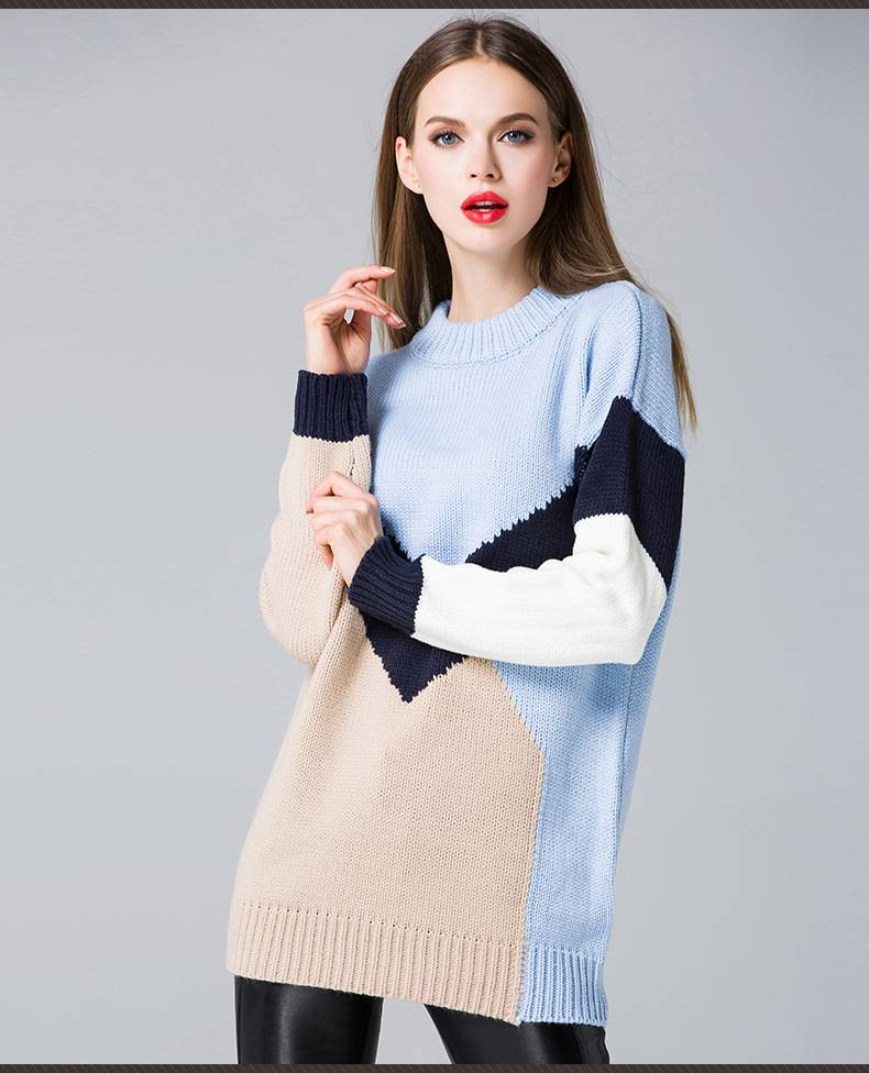 2015 europea popular plus size round collar loose pullover knitted sweater for ladies
