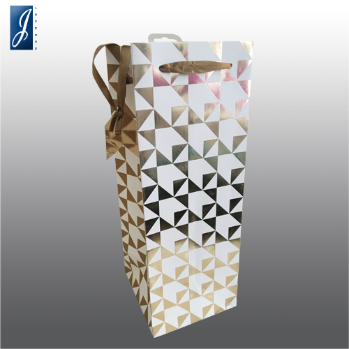 Customized wine promotional paper bag hotfoiled