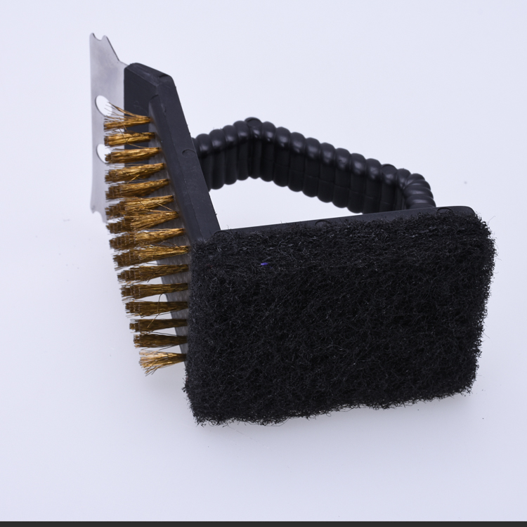 BZZ0161 easy cleaned plastic BBQ double-side grill cleaning brush with scraper