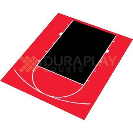 DuraPlay Half Court Basketball Kit (Half Court Basket Ball Kit in Red/Black)