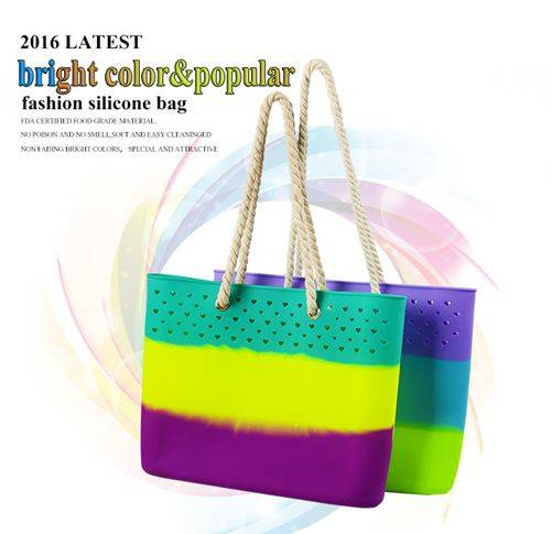 Fashion 2016 Lady Silicone Handbag Fancy Large Beach Bag