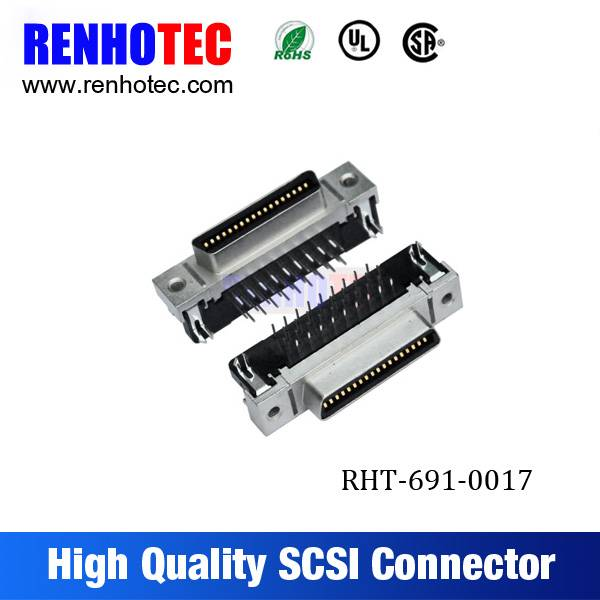 Straight 36 Pin CN Solder Type SCSI Female Connectors without Hook