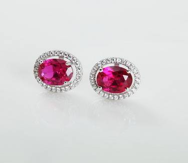S925 Sterling Silver Platinum Plated  Spinel Stud Earring