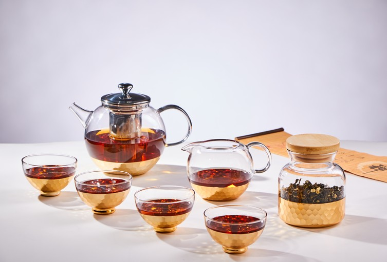 600ml heat resistant borosilicate glass tea set