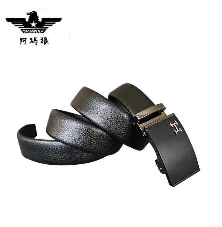 leather belt for man with automated buckle